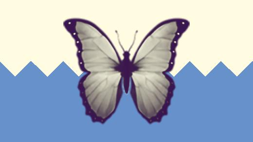 A duotoned dark purple and beige version of the Apple butterfly emoji, in front of a blue zig zag shape across the bottom