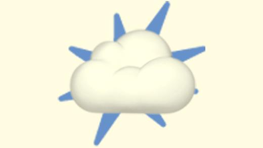 A duotoned dark purple and beige version of the Apple emoji of a cloud, in front of a blue starburst shape