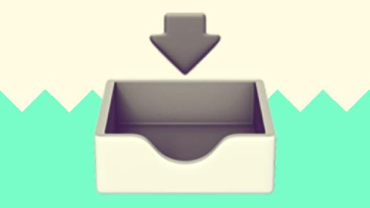 A duotoned dark purple and beige version of the Apple emoji of an email inbox, in front of a bright green zig zag shape across the bottom