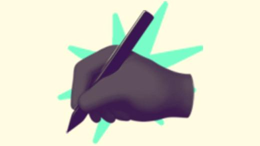 A duotoned dark purple and beige version of the Apple emoji of a hand holding a pen as if to write, in front of a bright green starburst shape