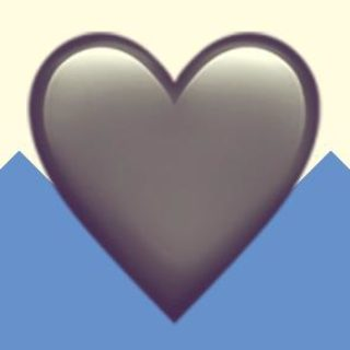 A duotoned dark purple and beige version of the Apple heart emoji, in front of a blue zig zag shape across the bottom