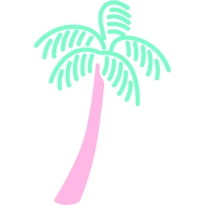 Pink and green palm tree image representative of the Producing Paradise brand
