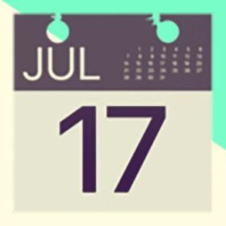 A duotoned dark purple and beige version of the Apple calendar page emoji, in front of a bright green triangle shape in the top right corner of the image