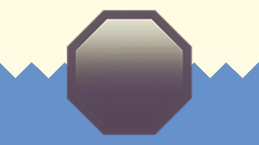 A duotoned dark purple and beige version of the Apple emoji for 'stop sign', in front of a light blue zig zag shape across the bottom