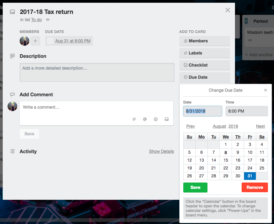 How to give a Trello task a deadline