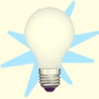 A duotoned dark purple and beige version of the Apple emoji of a light bulb, in front of a light blue starburst shape