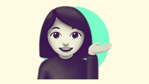 A duotoned dark purple and beige version of the Apple emoji of a woman with her hand out, in front of a bright green circle