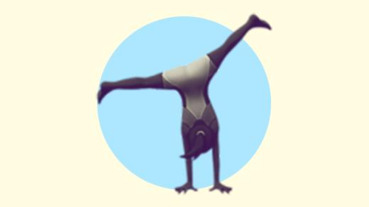 A duotoned dark purple and beige version of the Apple 'woman cartwheeling' emoji, in front of a light blue circle