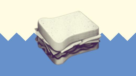 A duotoned dark purple and beige version of the Apple sandwich emoji, in front of a blue zig zag shape across the bottom