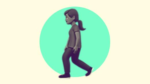 A duotoned dark purple and beige version of the Apple 'woman walking' emoji, in front of a bright green circle