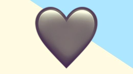 A duotoned dark purple and beige version of the Apple heart emoji, in front of a light blue triangle shape in the top right corner of the image
