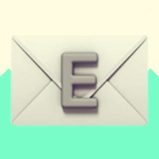 A duotoned dark purple and beige version of the Apple email emoji (showing an 'E' on an envelope), in front of a bright green zig zag shape across the bottom
