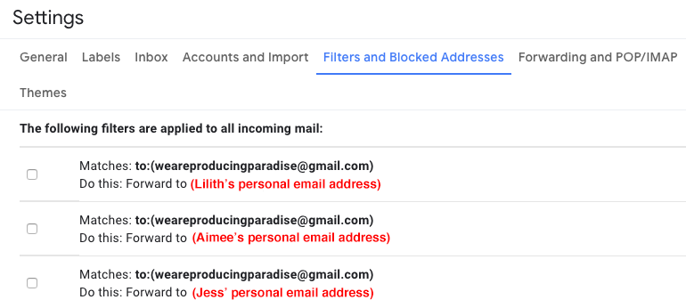 Screenshot of Gmail Settings page on the 'Filters and Blocked Addresses' tab saying 'The following filters are applied to all incoming mail:' then 'Matches: to:(weareproducingparadise@gmail.com) Do this: Forward to (Lilith's personal email address)'
