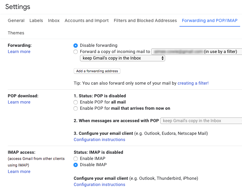 Screenshot of Gmail Settings page on the 'Forwarding and POP/IMAP tab' showing the checkbox selected for 'Disable forwarding'