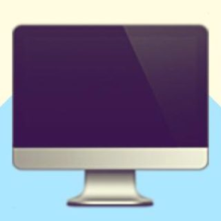 A duotoned dark purple and beige version of the Apple 'desktop computer' emoji (which looks like an Apple iMac), in front of a light blue zig zag shape across the bottom