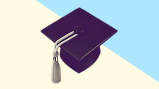 A duotoned dark purple and beige version of the Apple graduation cap emoji, in front of a light blue triangle shape in the top right corner of the image