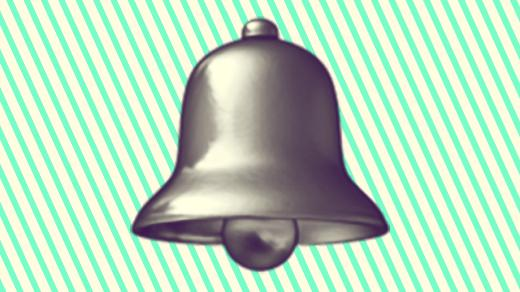 A duotoned dark purple and beige version of the Apple bell emoji, in front of a bright green striped background