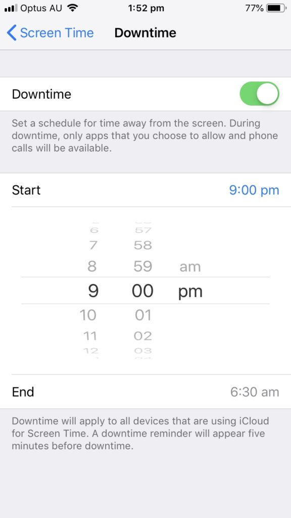 Screenshot of an iPhone settings page showing 'Downtime' set to start at 9pm
