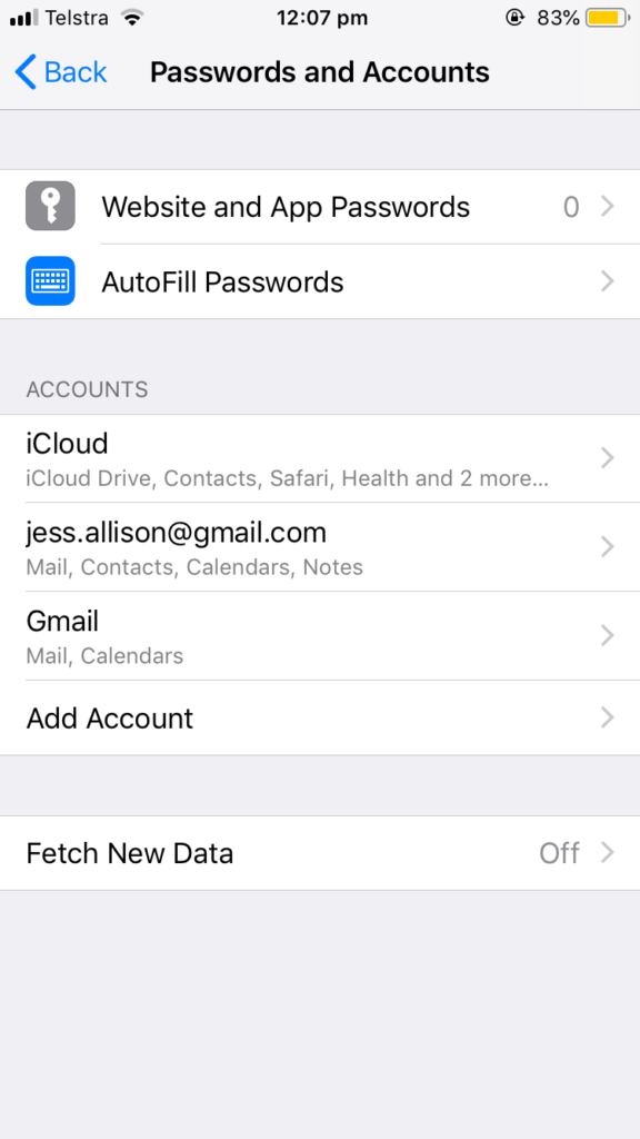 Screenshot of iPhone email account settings page showing 'Fetch New Data' set to 'Off'