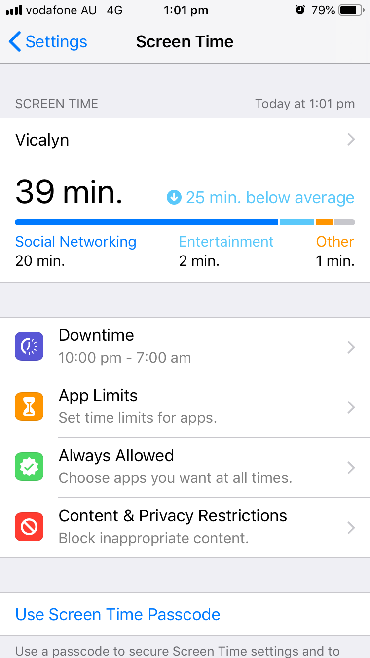 """Screenshot of an iPhone Screen Time info page showing screen time for the Vicalyn app at 39 min and """"25 min below average"""""""