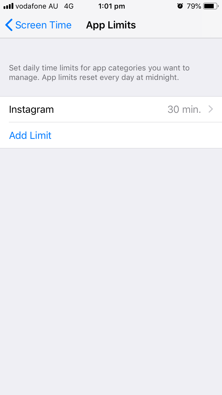 Screenshot of an iPhone Screen Time app limits settings page showing Instagram set to 30 min