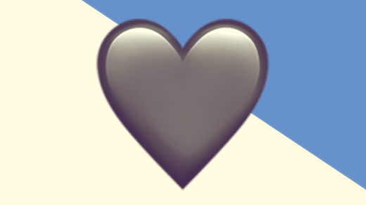 A duotoned dark purple and beige version of the Apple heart emoji, in front of a blue triangle shape in the top right corner of the image