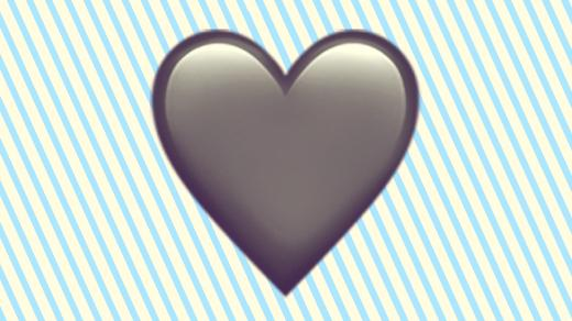 A duotoned dark purple and beige version of the Apple heart emoji, in front of a light blue striped background