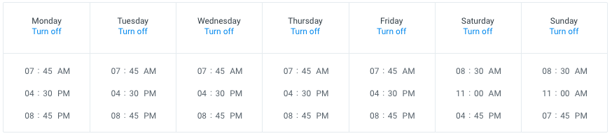Screenshot of the Buffer 'posting schedule' screen, which shows each day of the week with three times listed below it.