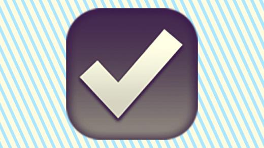 A duotoned dark purple and beige version of the Apple 'ballot box' emoji, in front of a light blue striped background