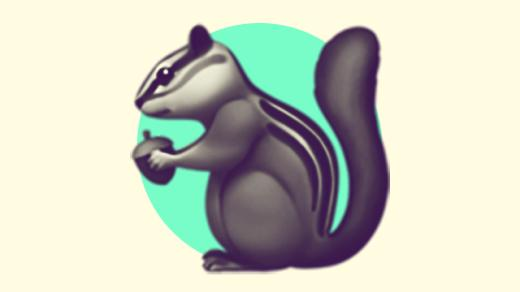 A duotoned dark purple and beige version of the Apple chipmunk emoji, in front of a bright green circle