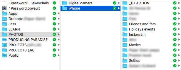 Screenshot of a Finder window, showing a list of folders. The 'PHOTOS' folder has been selected, followed by an 'iPhone' subfolder, which has subfolders within it like '_TO ACTION', 'Friends and fam', 'Holidays events' and 'Instagram'