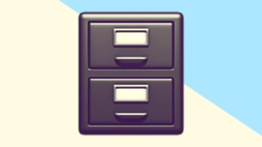 A duotoned dark purple and beige version of the Apple 'filing cabinet' emoji, in front of a light blue triangle shape in the top right corner of the image