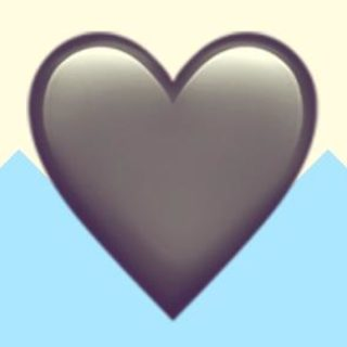 A duotoned dark purple and beige version of the Apple heart emoji, in front of a light blue zig zag shape across the bottom