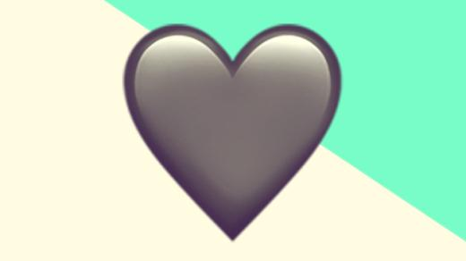 A duotoned dark purple and beige version of the Apple heart emoji, in front of a bright green triangle across the top right corner