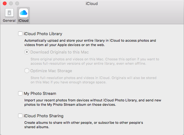 Screenshot of the iCloud settings page in the Photos app showing 'iCloud Photo Library', 'My Photo Stream' and 'iCloud Photo Sharing'