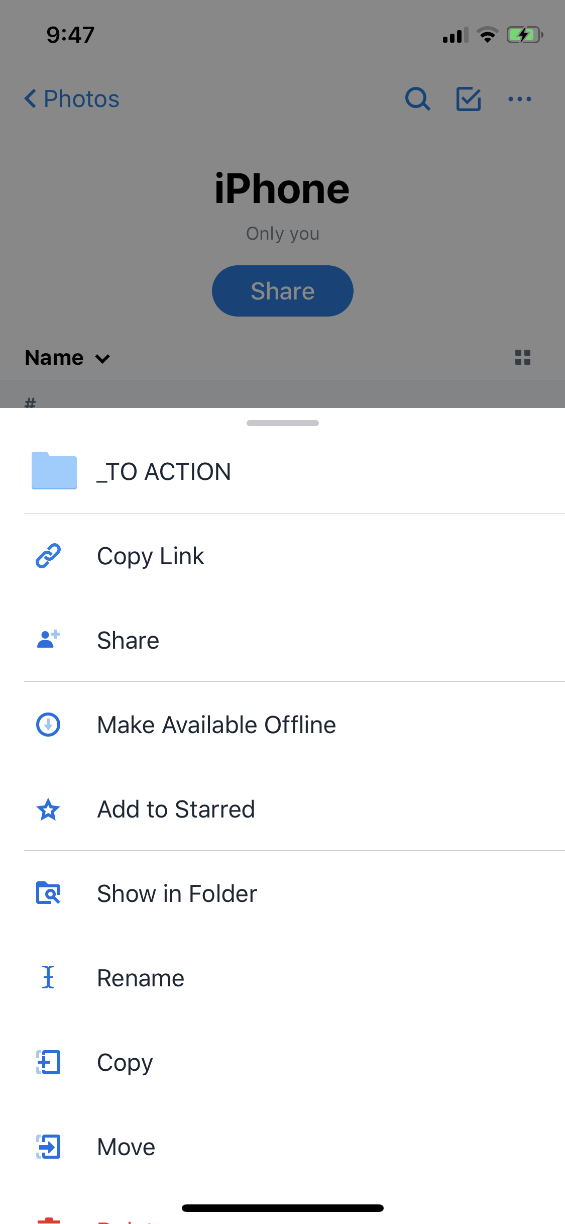 Screenshot of the Dropbox app settings page for a particular folder ('iPhone'), showing options such as 'Copy link', 'Share' and 'Make available offline'