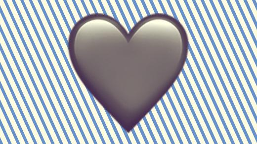 A duotoned dark purple and beige version of the Apple heart emoji, in front of a blue striped background