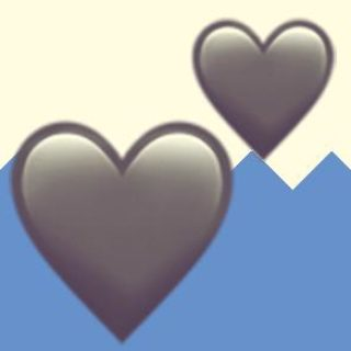 A duotoned dark purple and beige version of the Apple two hearts emoji, in front of a blue zig zag shape across the bottom
