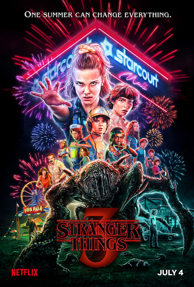 "A movie style poster with photo-real illustrations of various people in the centre, with a 'starcourt mall' sign above them and a spindly creature below. Text at the top reads ""One summer can change everything"" while logo-text in red at the bottom reads ""Stranger Things 3"""