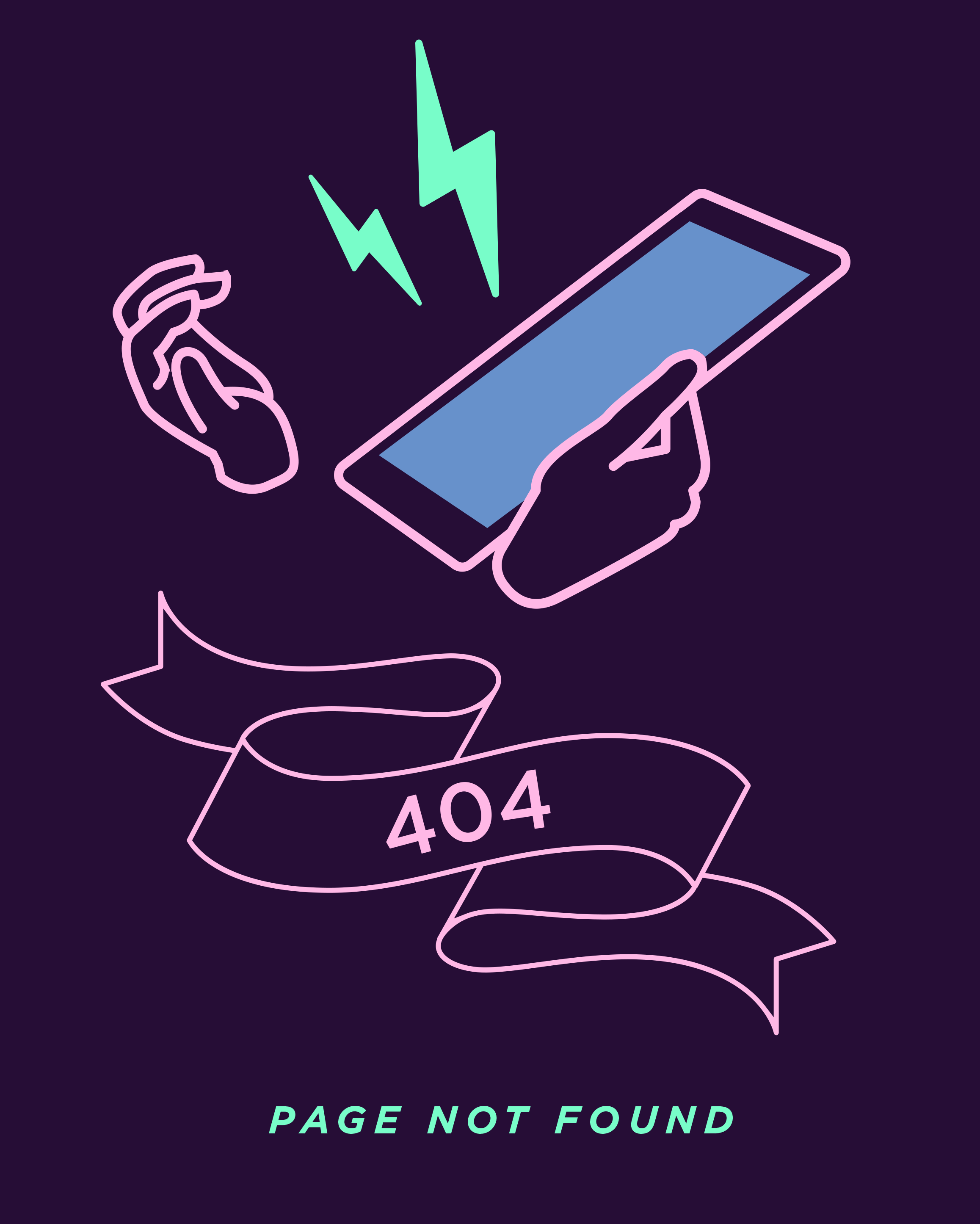 """Illustration showing two hands holding an iPhone with two exclamatory lightning bolts flying out of it, and a """"404"""" curly banner with """"Page not found"""" written underneath"""