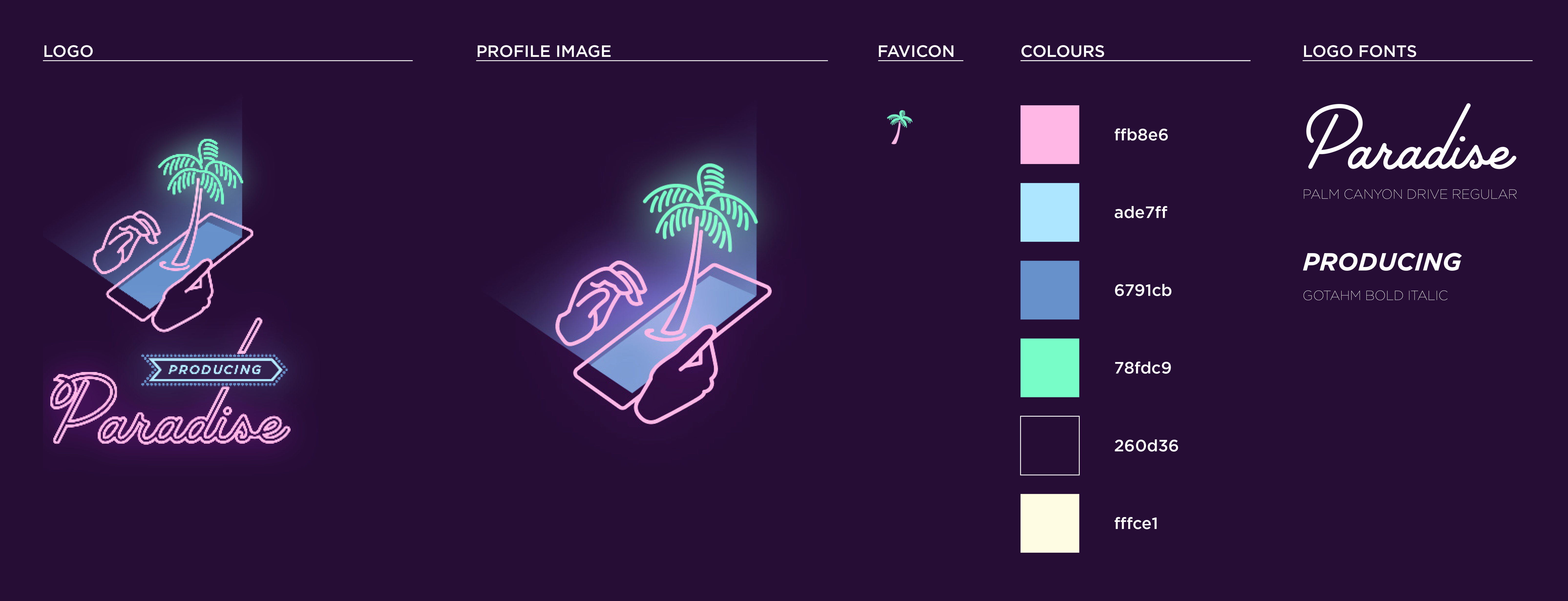 Screenshot of the Producing Paradise style guide showing logo, profile image, favicon, colours and fonts