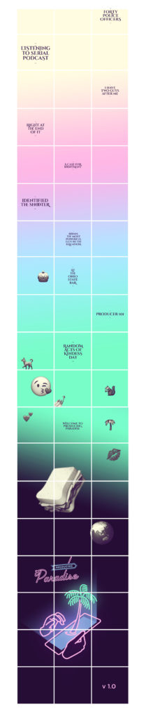 A mockup of an Instagram profile grid with dark purple squares at the bottom behind a 'Producing Paradise' logo, then the background cycles through colour gradients from bottom to top (neon green, baby blue, blush pink, to beige) and has dark purple duotone versions of Apple emoji randomly placed throughout the grid, as well as post title text