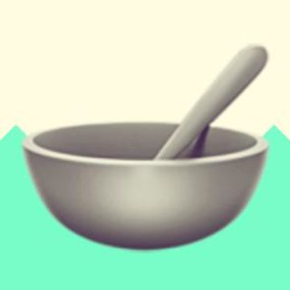 A duotoned dark purple and beige version of the Apple 'bowl and spoon' emoji, in front of a bright green zig zag shape across the bottom of the image