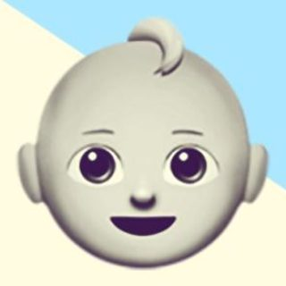A duotoned dark purple and beige version of the Apple 'baby' emoji, in front of a light blue triangle shape in the top right corner of the image