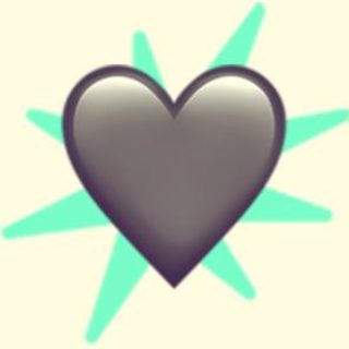 A duotoned dark purple and beige version of the Apple heart emoji, in front of a bright green starburst shape