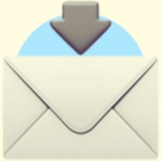 A duotoned dark purple and beige version of the Apple 'envelope with arrow above' emoji, in front of a light blue circle