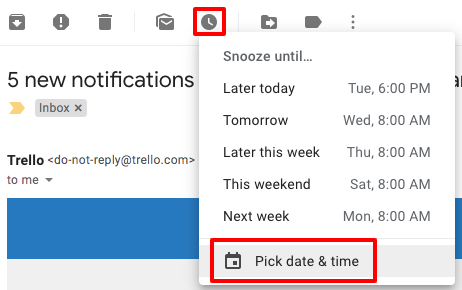 "Screenshot of the Gmail menu on an individual email, showing the clock symbol highlighted and expanded, with 'Snooze until...' options including ""Later today"", ""Tomorrow"", ""Later this week"", ""This weekend"", ""Next week"" and ""Pick date & time"""