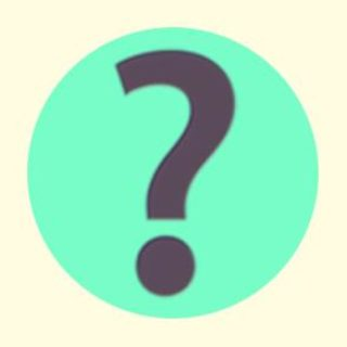 A duotoned dark purple and beige version of the Apple question mark emoji, in front of a green circle background
