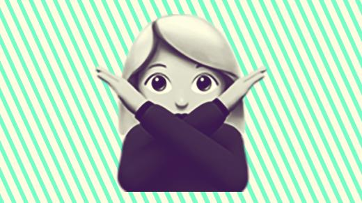A duotoned dark purple and beige version of the Apple lady doing crossed arms emoji, in front of a green striped background