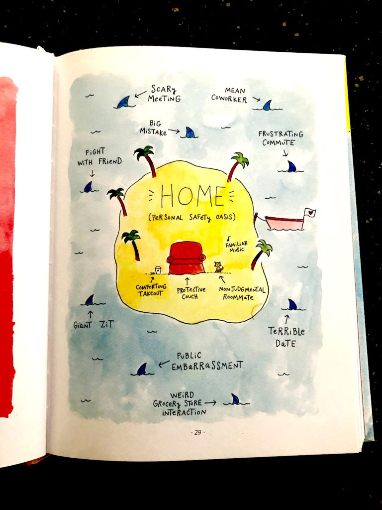 A photograph of an illustration depicting adulthood taken from the book Am I there yet? By Mari Andrew